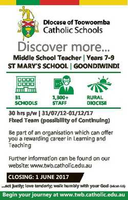 Discover more... Middle School Teacher | Years 7-9 ST MARY'S SCHOOL | GOONDIWINDI 31 SCHOOLS 1,3...