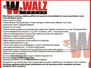 All applicants must provide documents to show eligibility to work in Australia such as passport or birth certificate. Only those applicants with relevant qualifications and site inductions will be considered and those shortlisted will be contacted. 6600290aa Walz Group is seeking suitably qualified and experienced candidates for upcoming shutdown work ...
