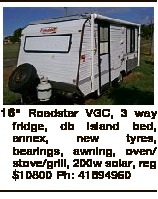 "16"" Roadstar VGC, 3 way fridge, db island bed, annex, new tyres, bearings, awning, oven/ stove..."