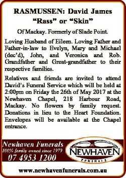 "RASMUSSEN: David James ""Rass"" or ""Skin"" Of Mackay. Formerly of Slade Point. Lovi..."