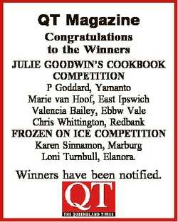 QT Magazine Congratulations to the Winners JULIE GOODWIN'S COOKBOOK COMPETITION P Goddard, Yaman...