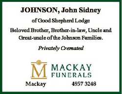 JOHNSON, John Sidney of Good Shepherd Lodge Beloved Brother, Brother-in-law, Uncle and Great-uncle o...