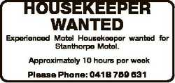 HOUSEKEEPER WANTED