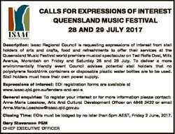 CALLS FOR EXPRESSIONS OF INTEREST QUEENSLAND MUSIC FESTIVAL 28 AND 29 JULY 2017 Description: Isaac R...
