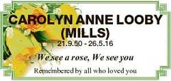 CAROLYN ANNE LOOBY (MILLS) 21.9.50 - 26.5.16 We see a rose, We see you Remembered by all who loved y...