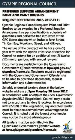 GYMPIE REGIONAL COUNCIL PREFERRED SUPPLIER ARRANGEMENT PAINT AND PAINT BRUSHES REQUEST FOR TENDER 20...