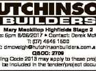 6604409aa Mary Mackillop Highfields Stage 2 Close: 5pm 8/06/2017 * Contact: Derek McVeigh T: (07) 4646 1500 E: dmcveigh@hutchinsonbuilders.com.au QBCC: 2709 Building Code 2013 may apply to these projects. Details will be included in the tender/project documentation.