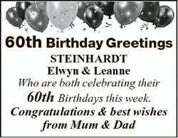 60th Birthday Greetings STEINHARDT Elwyn & Leanne Who are both celebrating their 60th Birthdays...