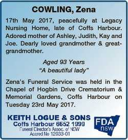 COWLING, Zena 17th May 2017, peacefully at Legacy Nursing Home, late of Coffs Harbour. Adored mother...