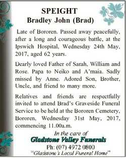 SPEIGHT Bradley John (Brad) Late of Bororen. Passed away peacefully, after a long and courageous bat...