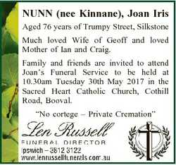 NUNN (nee Kinnane), Joan Iris Aged 76 years of Trumpy Street, Silkstone Much loved Wife of Geoff and...