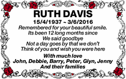 RUTH DAVIS   15/4/1937 ~ 3/6/2016   Remembered for your beautiful smile   Its been 12...