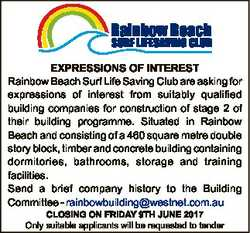 EXPRESSIONS OF INTEREST Rainbow Beach Surf Life Saving Club are asking for expressions of interest f...