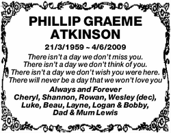 PHILLIP GRAEME ATKINSON   21/3/1959 ~ 4/6/2009   There isn't a day we don't m...