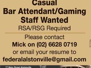 Casual Bar Attendant/gaming staff wanted