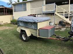 CAMPER Trailer.   Heavy duty, unregistered, good tyres, pull out top canopy, pull out fridge...