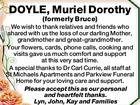Muriel Dorthy Doyle (formerly Bruce)