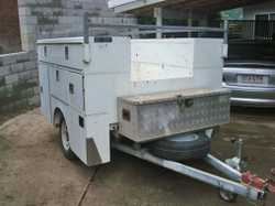 TOOL Trailer with 9 lockable tool boxes, r/racks, tool tray in some boxes, gc, good wheels and ty...