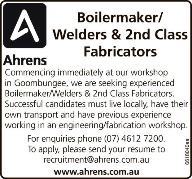 Boilermaker/ Welders & 2nd Class Fabricators