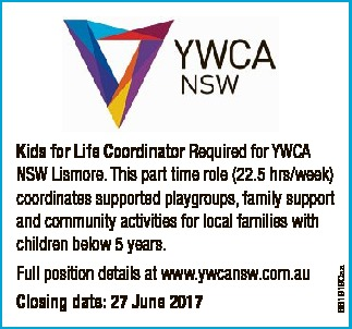 Kids for Life Coordinator Required for YWCA NSW Lismore. This part time role (22.5 hrs/week) coor...