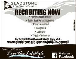 For further information and how to apply visit - www.gladstone.qld.gov.au/jobs-in-council M...
