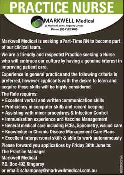 Markwell Medical is seeking a Part-Time RN to become part of our clinical team. We are a friendly...