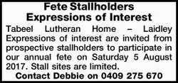 Fete Stallholders Expressions of Interest Tabeel Lutheran Home – Laidley Expressions of int...