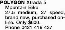 POLYGON Xtrada 5 Mountain Bike 27.5 medium, 27 speed, brand new, purchased online. Only $600. Pho...