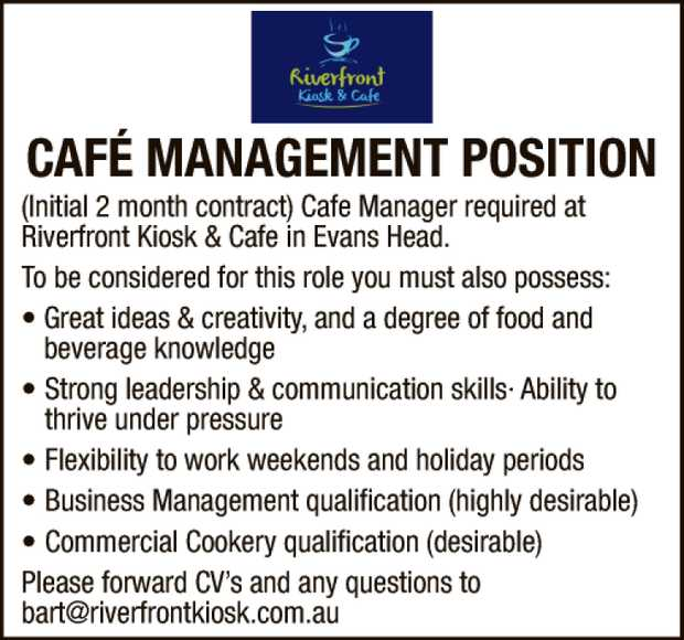 CAFE MANAGEMENT POSITION