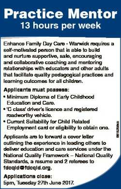 Practice Mentor 13 hours per week Applicants must possess: * Minimum Diploma of Early Childhood Educ...