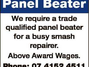 Panel Beater We require a trade qualified panel beater for a busy smash repairer. Above Award Wages. Phone: 07 4152 4511 Email: admin@leskellypanelandpaint.com.au