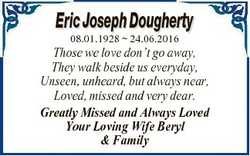 Eric Joseph Dougherty 08.01.1928  24.06.2016 Those we love don't go away, They walk beside us ev...