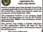 KYOGLE COUNCIL Application for Public Gate Permit 6619380aa Notice is hereby given that Kyogle Council has received application from the owner of Lot 20 DP 751059 for a Public Gate Permit under the provisions of the Roads Act 1993. The proposed location is on Lindsay Creek Road at the boundary ...