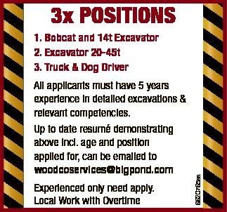 3x POSITIONS     Bobcat and 14t Excavator  Excavator 20-45t  Truck &...