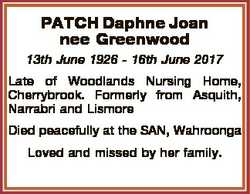 PATCH Daphne Joan nee Greenwood 13th June 1926 - 16th June 2017 Late of Woodlands Nursing Home, Cher...