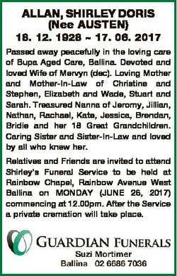 ALLAN, SHIRLEY DORIS (Nee AUSTEN) 18. 12. 1928  17. 06. 2017 Passed away peacefully in the loving ca...
