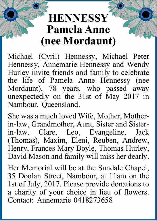 Michael (Cyril) Hennessy, Michael Peter Hennessy, Annemarie Hennessy and Wendy Hurley invite frie...