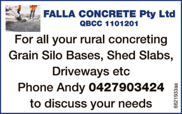 FALLA CONCRETE Pty Ltd QBCC 1101201