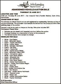 ABANDONED VEHICLE AUCTION SALE LOCATION AND TIME THURSDAY 29 JUNE 2017 10:00 am Thursday 29 June 201...