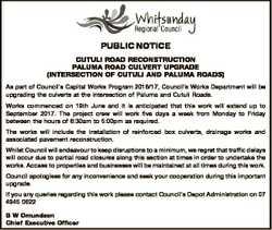 PUBLIC NOTICE CUTULI ROAD RECONSTRUCTION PALUMA ROAD CULVERT UPGRADE (INTERSECTION OF CUTULI AND PAL...