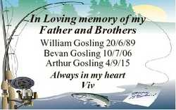 In Loving memory of my Father and Brothers William Gosling 20/6/89 Bevan Gosling 10/7/06 Arthur Gosl...