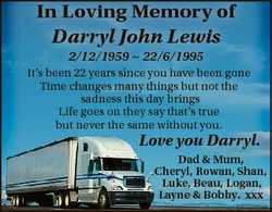 In Loving Memory of Darryl John Lewis 2/12/1959  22/6/1995 It's been 22 years since you have bee...