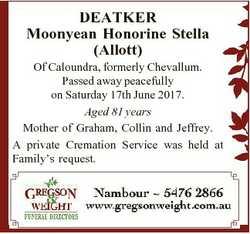 DEATKER Moonyean Honorine Stella (Allott) Of Caloundra, formerly Chevallum. Passed away peacefully o...