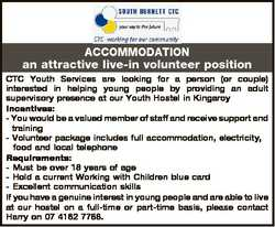 ACCOMMODATION an attractive live-in volunteer position CTC Youth Services are looking for a person (...