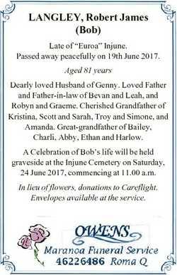 "LANGLEY, Robert James (Bob) Late of ""Euroa"" Injune. Passed away peacefully on 19th June 20..."