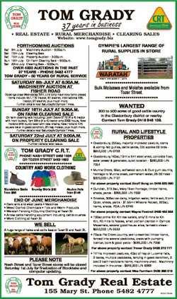 TOM GRADY business 37 years in * REAL ESTATE * RURAL MERCHANDISE * CLEARING SALES Website: www.tomgr...