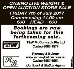 FRIDAY 7th of July 2017 Commencing 11.00 am 600 HEAD 600 B o o kings a r e now b ei n g t a...