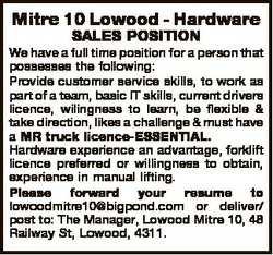 Mitre 10 Lowood - Hardware SALES POSITION We have a full time position for a person that possesses t...