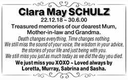 Clara May SCHULZ 22.12.18 ~ 30.6.00 Treasured memories of our dearest Mum, Mother-in-law and Gran...