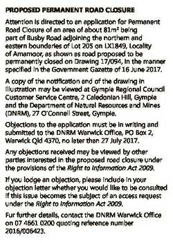 PROPOSED PERMANENT ROAD CLOSURE Attention is directed to an application for Permanent Road Closure o...